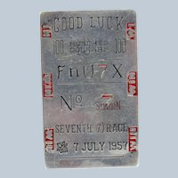 Vintage Sterling and Enamel Racing Ticket Money Clip, Good Luck