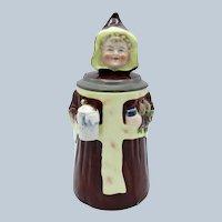 Antique Porcelain Stein, Monk, Friar, with Stein, Turnips, Book
