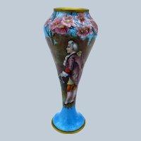 Antique STUNNING Enamel Vase, Raised Flowers, Victorian Man, Turq Blue Enamel