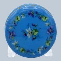 Antique Stunning Enamel Patch, Powder Pill Box, Turquoise Blue Enamel, Flower