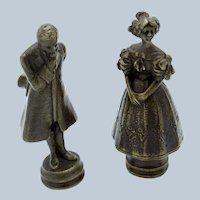 Antique Pair of Bronzes, Courting Couple, Man in Top Hat, Victorian Lady