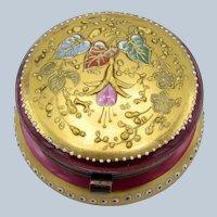 Antique Moser Cranberry Decorated Glass Patch Box, Powder Jar, Dresser Jar