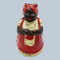 Antique Americana Woman Dressed in Red with Apron, Cast Iron Still Bank