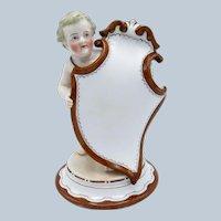 Antique KPM Cherub Porcelain Menu Shield
