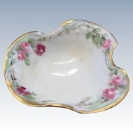 Vintage JPL Limoges France Hand Painted Open Salt, Unique Shape