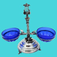 Double Open Salt Cobalt Glass Silver Plate, Cherubs, Birds, Lyre, MUSIC Box Base