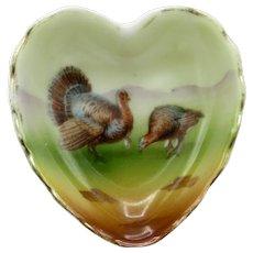 Royal Bayreuth Heart Shaped Turkey Pattern Open Salt