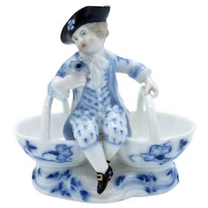 Antique Blue Onion Pattern Double Open Salt w/ Boy in Hat, Hand Painted
