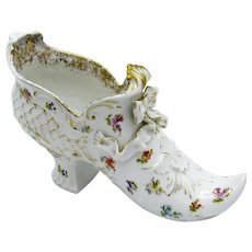 Antique LARGE Saxonia Decorated Porcelain Shoe with Bow