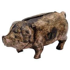 Antique Cast Iron Pink Piggy Coin Bank