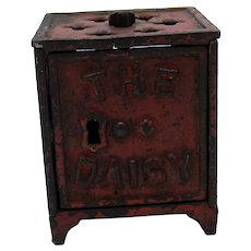 Antique The Daisy Cast Iron Bank Shimer Toy Company Miniature Bank 1887