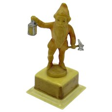 Antique Gnome with Lantern and Hammer Celluloid Tape Measure