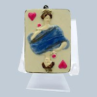 Antique Queen of Heart Celluloid Tape Measure, Playing Card