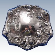 Antique Forbes Silver Plate Jewel Box, Cherubs, Roses, C-1890-1900