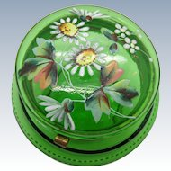 Antique Green Enamel Painted Dresser Powder Box Jar