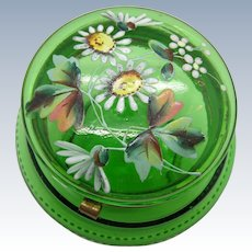 Antique Green Enamel Painted Dresser Powder Box Jar