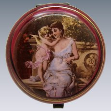 Antique Cranberry Glass Rouge Jar or Powder Jar, Features Cupid and Lady