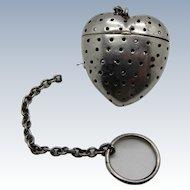 Antique Sterling RARE SHAPE Heart Shaped Teaball Tea Ball Strainer