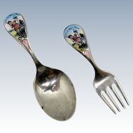 Antique Sterling Children's Fork and Spoon with Enamel Little Bo Peep Child Size