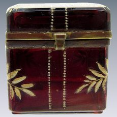 Antique DEEP Cranberry Dresser Box, Square Shape, Moser Style, Hinged Top