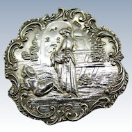 Antique Sterling Miniature Table Beautiful Scene Hanau