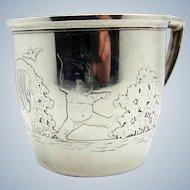 Antique Sterling Kewpie Child's Children's Mug Cup, Mathews Company