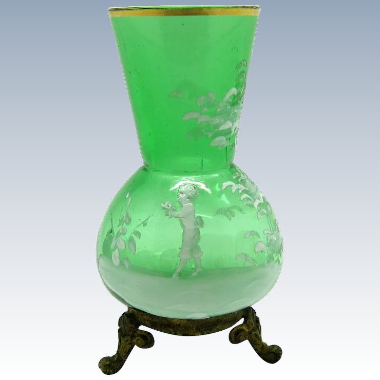Antique Green Glass Mary Gregory Vase On Brass Feet Marcie