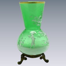 Antique Green Glass Mary Gregory Vase on Brass Feet
