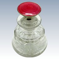 Antique Perfume Scent Bottle, Sterling and Enamel, Squatty Shape, Engraved
