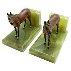 Antique Pair of Cold Painted Vienna Bronze Horse Bookends, Green Onyx Bases
