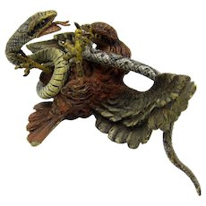 Antique Large Vienna Bronze Eagle or Hawk Bird and Snake Figure in Battle