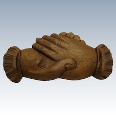 Antique Hand Carved Clasped Hands, Cuffs, Wall Hanger