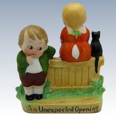 Antique Schafer and Vater Figurine AN UNEXPECTED OPENING, Young Man and Girl
