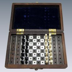 Antique Traveling Chess Set, Original Pieces, Traveling Box