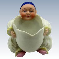 Vintage Pierrot Clown with Open Egg Bisque Figure, SO CUTE!