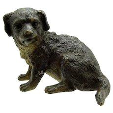 Antique French Large Bronze Dog Sitting Down Position, Reg. Mark June 1878