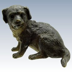 Antique French Large Bronze Dog Sitting Down Position, Reg. Mark June 1878