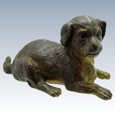Antique French Large Bronze Dog is Laying Down Position, Reg. Mark June 1878