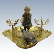 Antique Bronze Girl with Goose, Perfume Bottle Holder