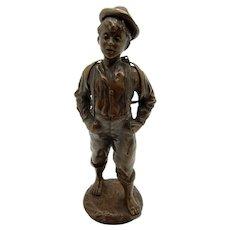 Antique Beautiful Bronze of Young Man Wearing School Books, Barefoot