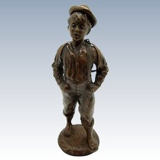 Antique Beautiful Bronze of Young Man Wearing School Books, Barefoot