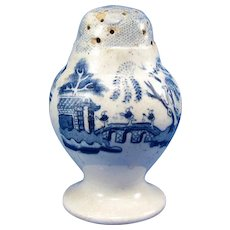 Antique Early Staffordshire Blue & White Willow Pepper Shaker, C-1860
