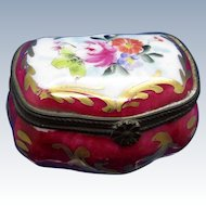Vintage Hand Painted Porcelain box with Gold Accents, Brass Mounting French