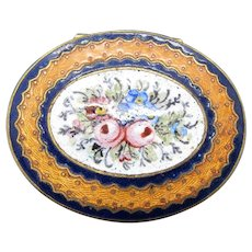 Antique Enamel Pill Patch Compact Box With Hand Painted Flowers