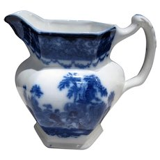 Antique Flow Blue Watteau Pattern PITCHER, Excellent Condition C-1880-1900