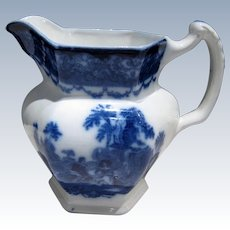Antique Flow Blue Watteau Pattern PITCHER, Excellent Condition C-1880-1900