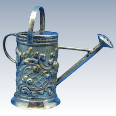 Antique Sterling Dutch Hannau Watering Can Miniature Small, C-1890