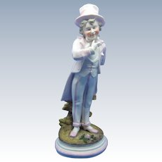 Antique Boy Figurine Holding Flowers, German Bisque, Top Hat
