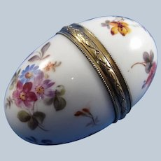 French Sterling, Porcelain Hand Painted Egg Shaped Hinged Box Original Lining