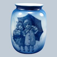 Antique Royal Bayreuth Babes in the Woods Large Vase with Girls in Snow